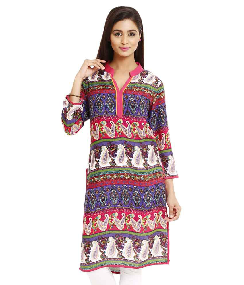 Frame Multi Color Straight Cotton Kurti