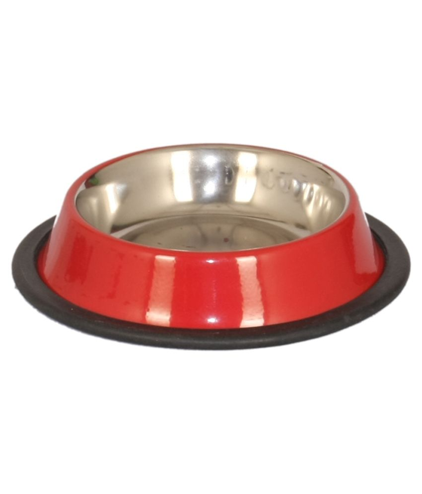 Pet Club51 Red Stainless Steel Dog Food Bowl