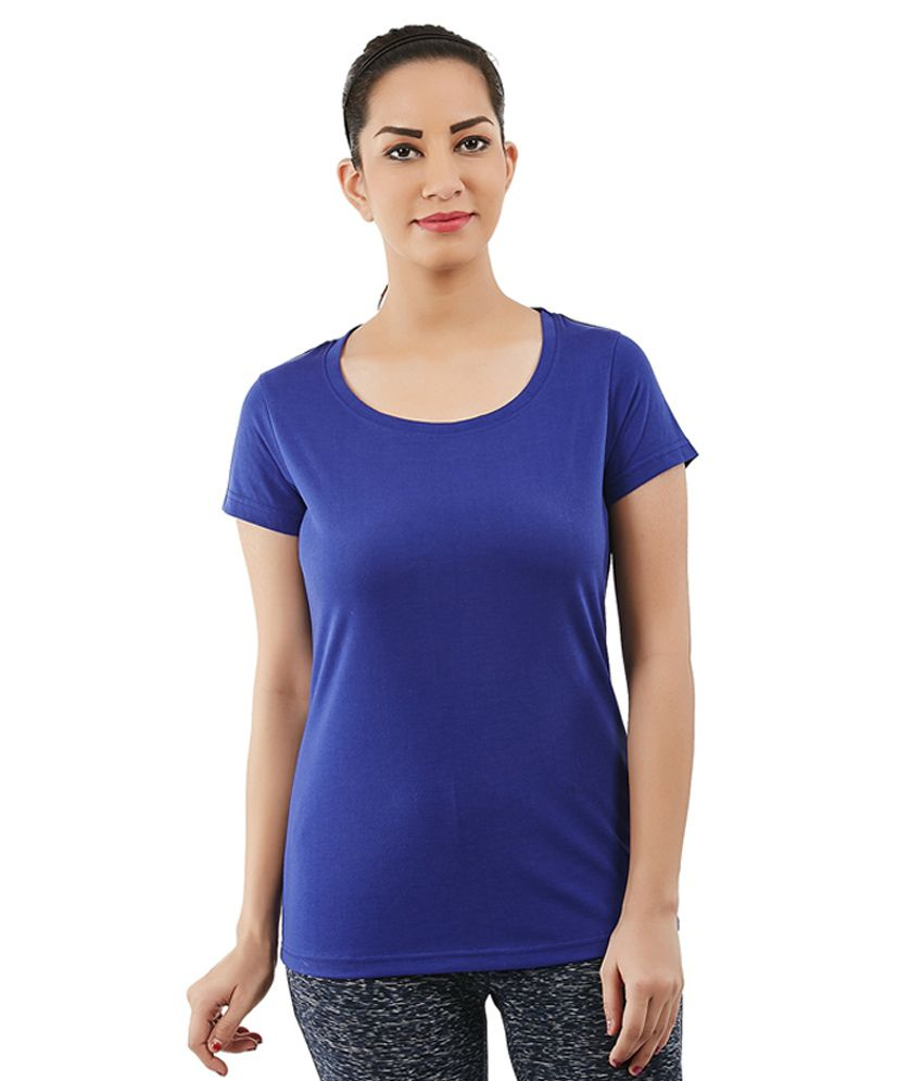 Foreveryoga Blue Cotton Scoop Neck Tee