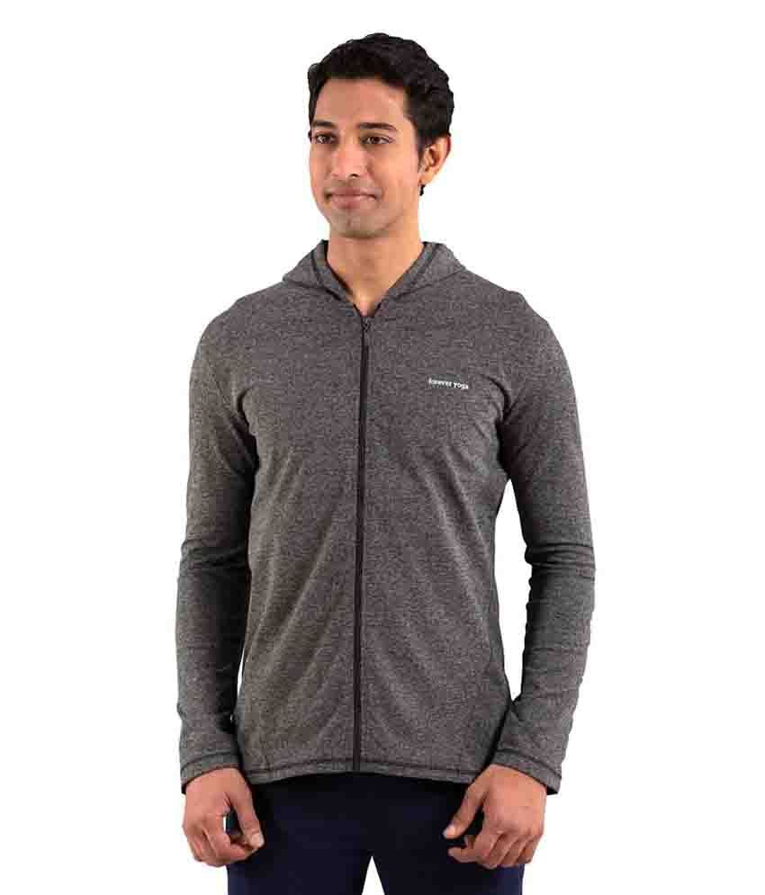 Foreveryoga Gray Men's Full Zipped Tee