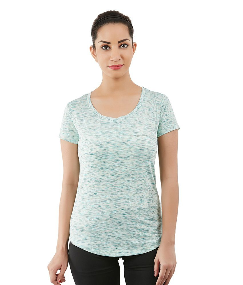 Foreveryoga Green Basic Scoop Neck Tee