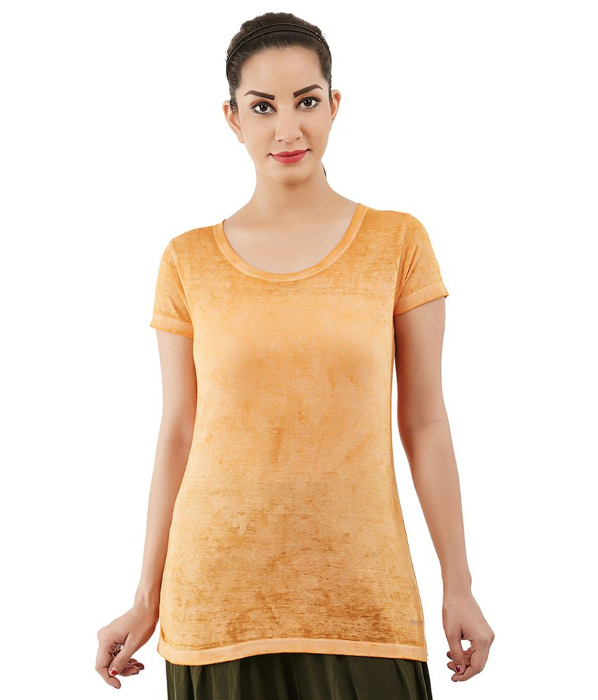 Foreveryoga Mustard Strechable Round Neck Tee