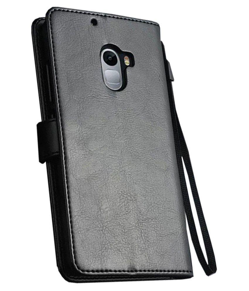 wholesale dealer 7c118 e92e4 Excelsior Leather Wallet Flip Cover For Lenovo K4 Note-black