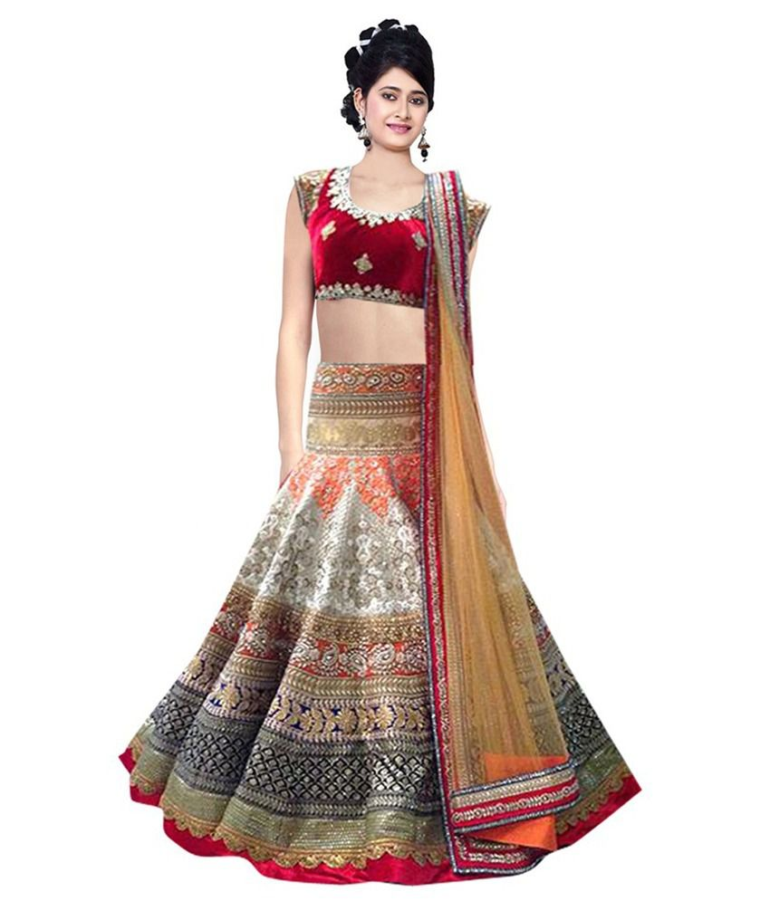 a329a9d7684b60 Greenvilla Designs Multi Color Velvet Lehenga - Buy Greenvilla Designs  Multi Color Velvet Lehenga Online at Best Prices in India on Snapdeal