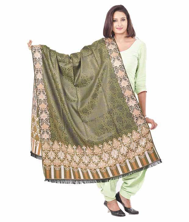 Weavers Villa Green Faux Pashmina Silk Shawls