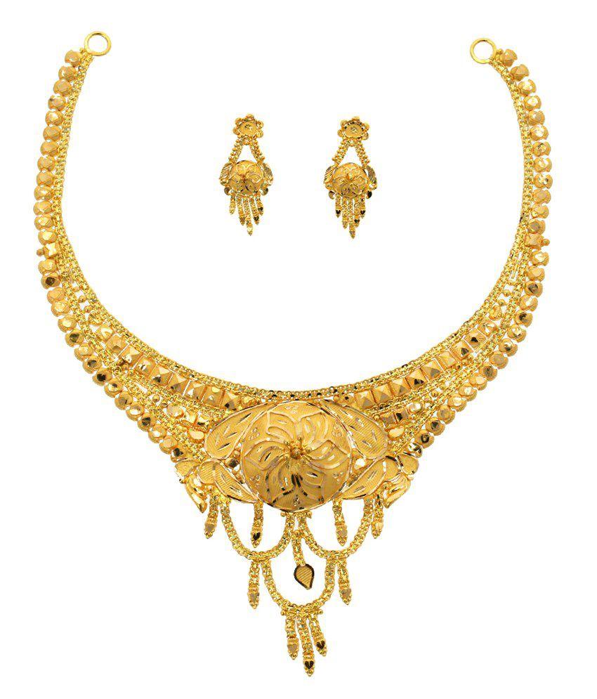 Abhijewels Hallmarked 22kt Gold Necklace Set