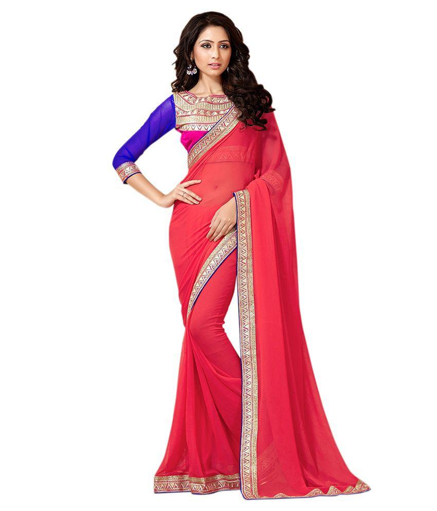 Viva N Diva Red Silk Saree