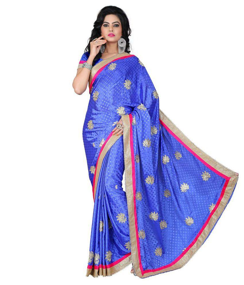 Vishnupriya Fabs Purple Faux Georgette Saree