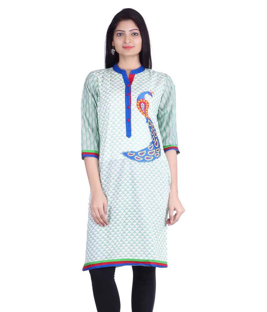 Jaipur Prints Green Straight Cotton Kurti