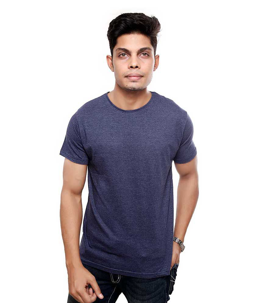 Viral Lifestyle Blue Cotton Blend T - Shirt