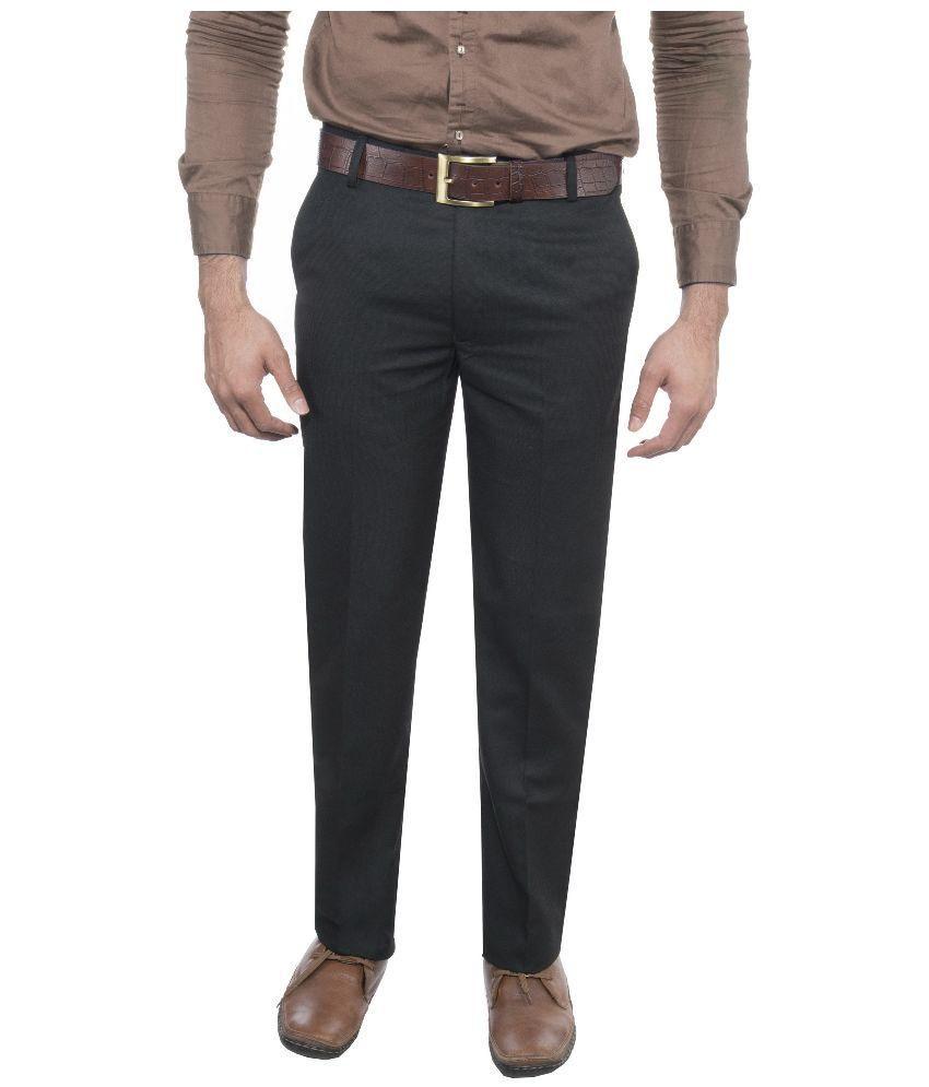 Febulous Black Regular Fit Flat Trouser
