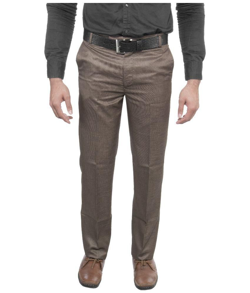 Febulous Brown Regular Fit Flat Trouser