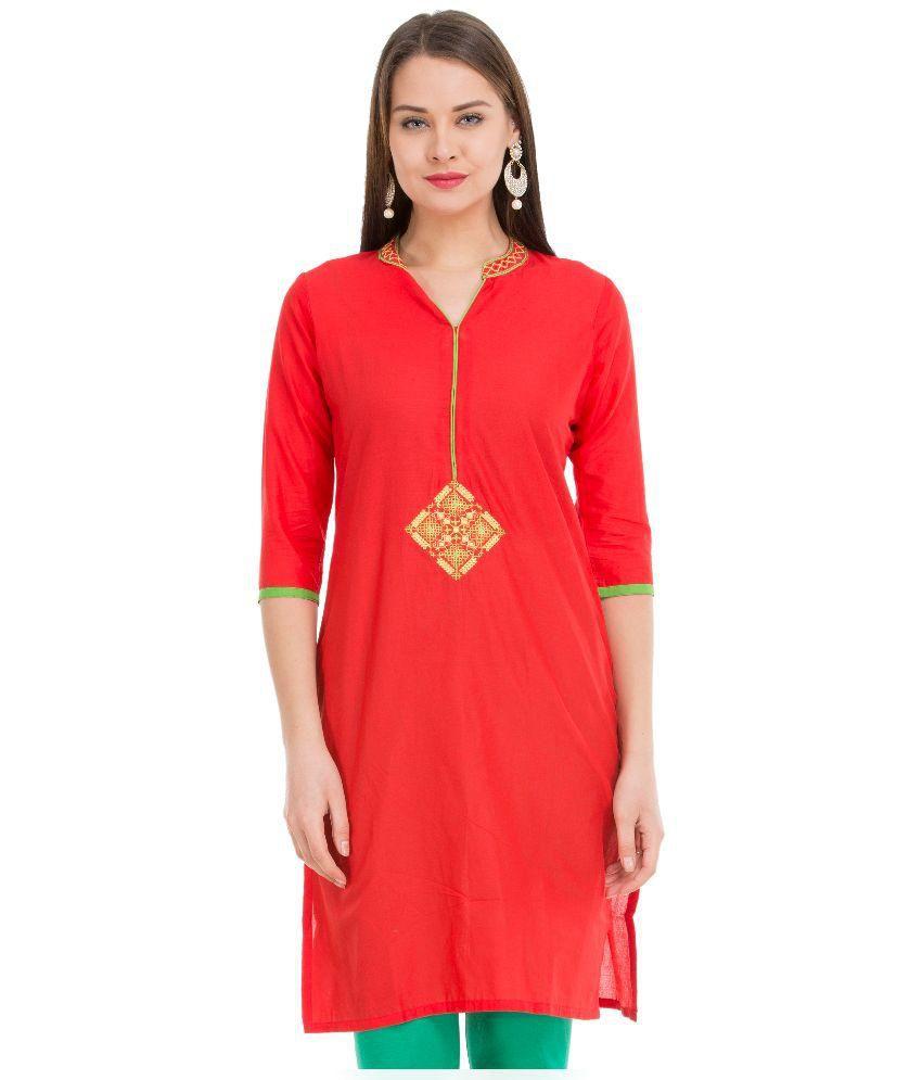 Veda Red Straight Cotton Kurti