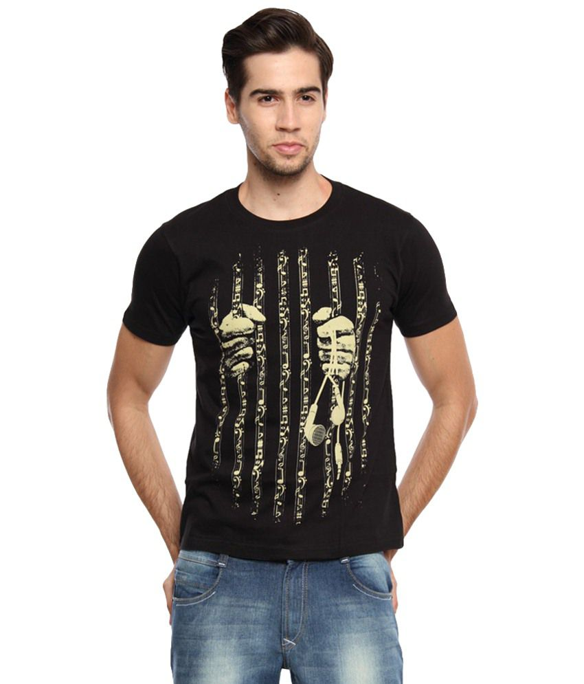 Zovi Black & Yellow Printed Cotton Half Sleeve T Shirt