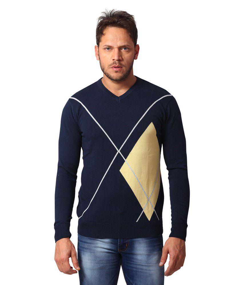 Club Fox Navy Full Sleeves Cotton Blend Round Neck Sweater