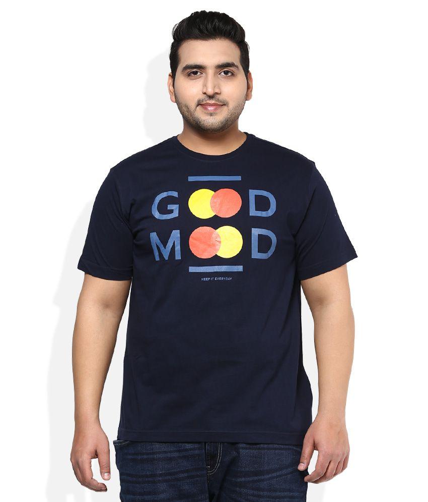 Alto Moda By Pantaloons Navy Printed T-Shirt