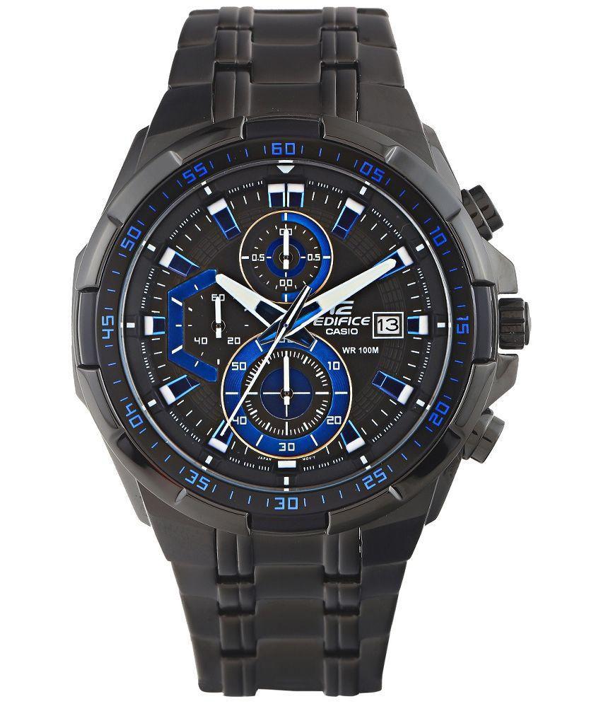 casio black analog chronograph watch