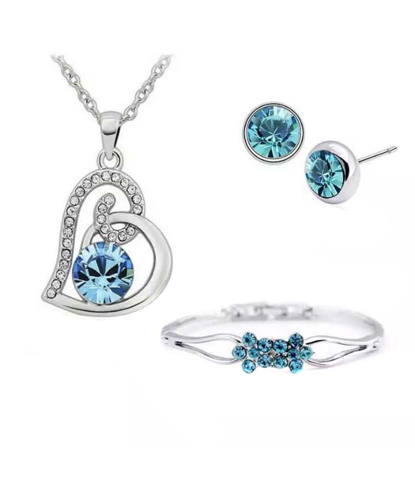 Youbella Silver And Blue Alloy Pendant Set And Bracelet Combo