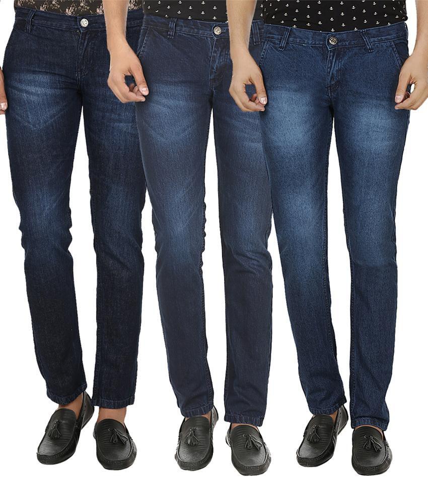 Ben Carter Blue Slim Fit Jeans (combo Of 3)