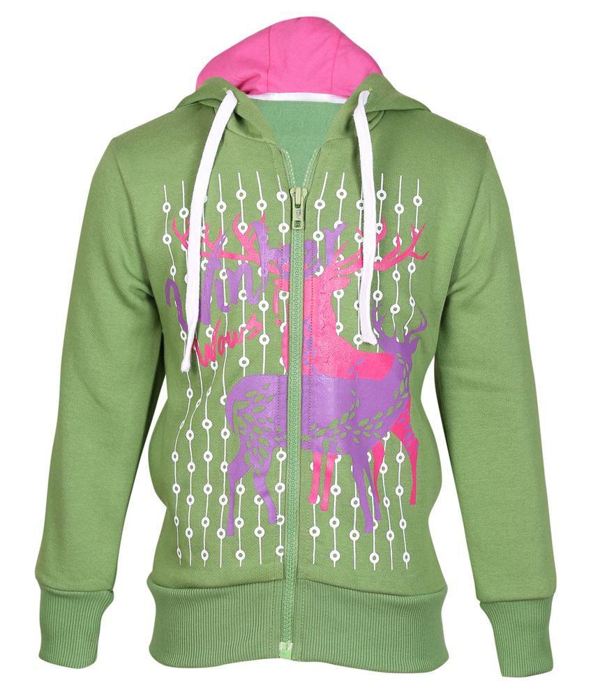 Cool Quotient Green Hooded Sweatshirt For Girls
