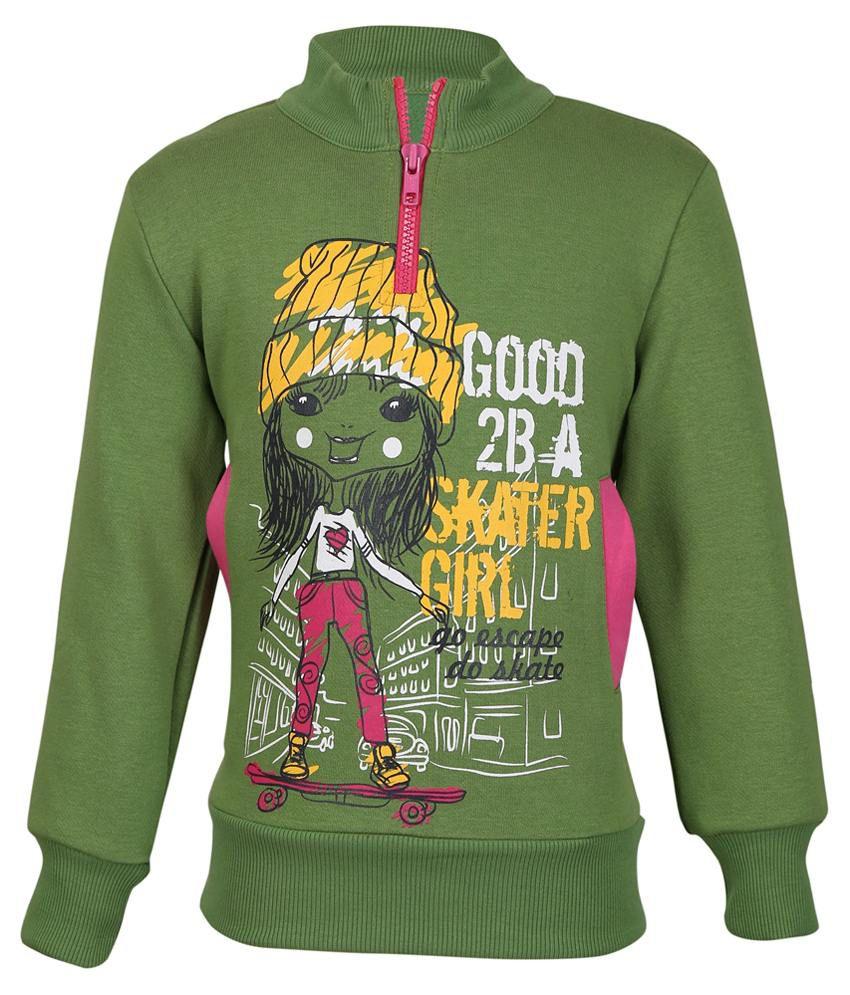 Cool Quotient Green Sweatshirt For Girls