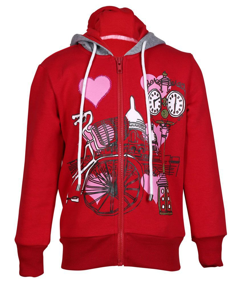Cool Quotient Red Hooded Sweatshirt For Girls