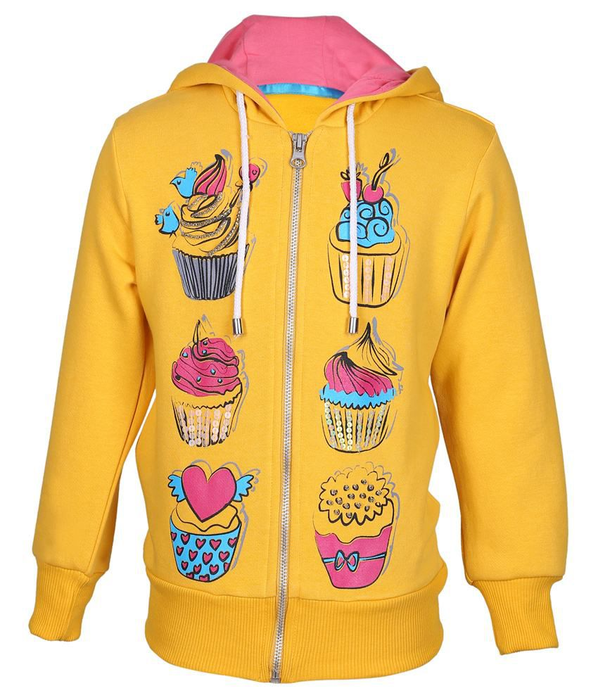 Cool Quotient Yellow Hooded Sweatshirt For Girls