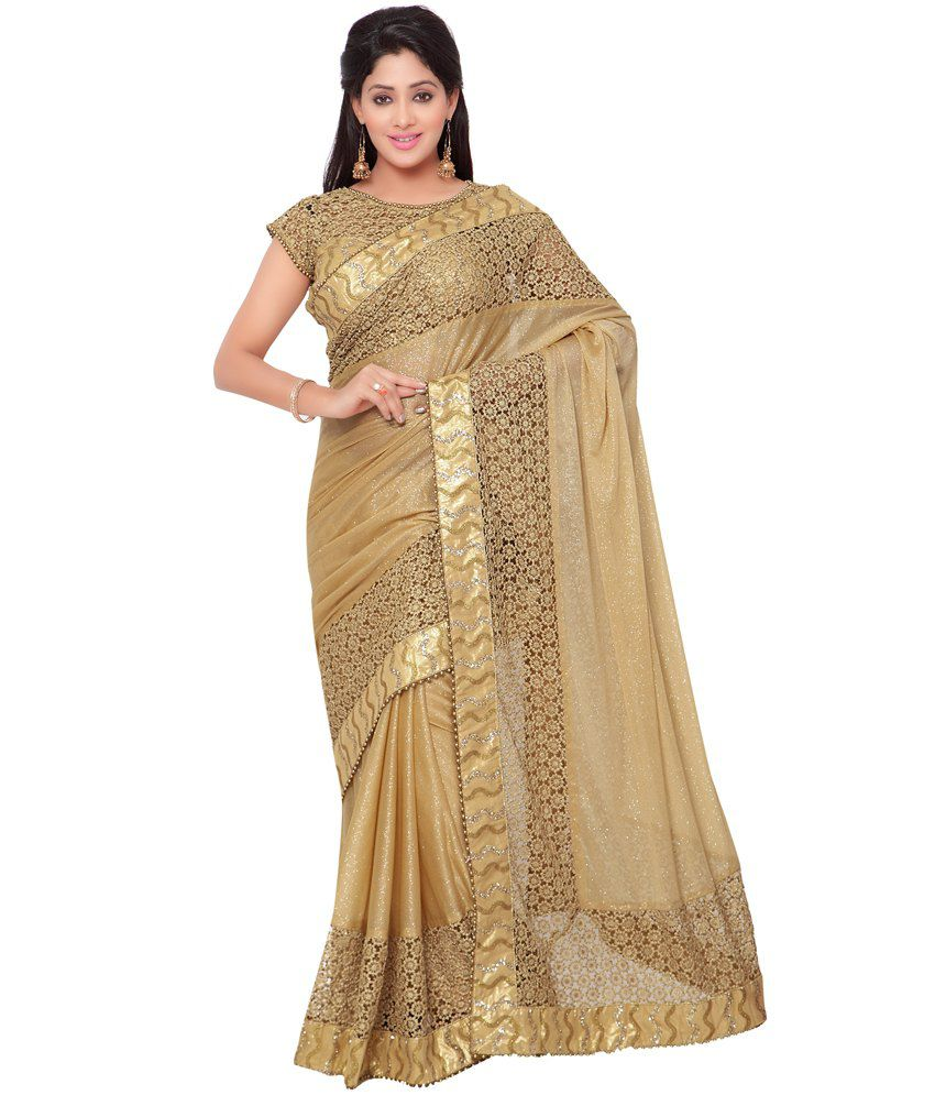 Indian Women Beige Silk Saree