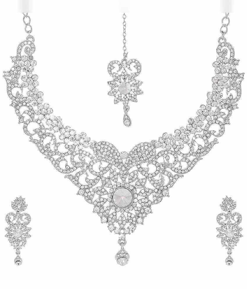 Jai Shree Silver Alloy Sunflower Necklace Set