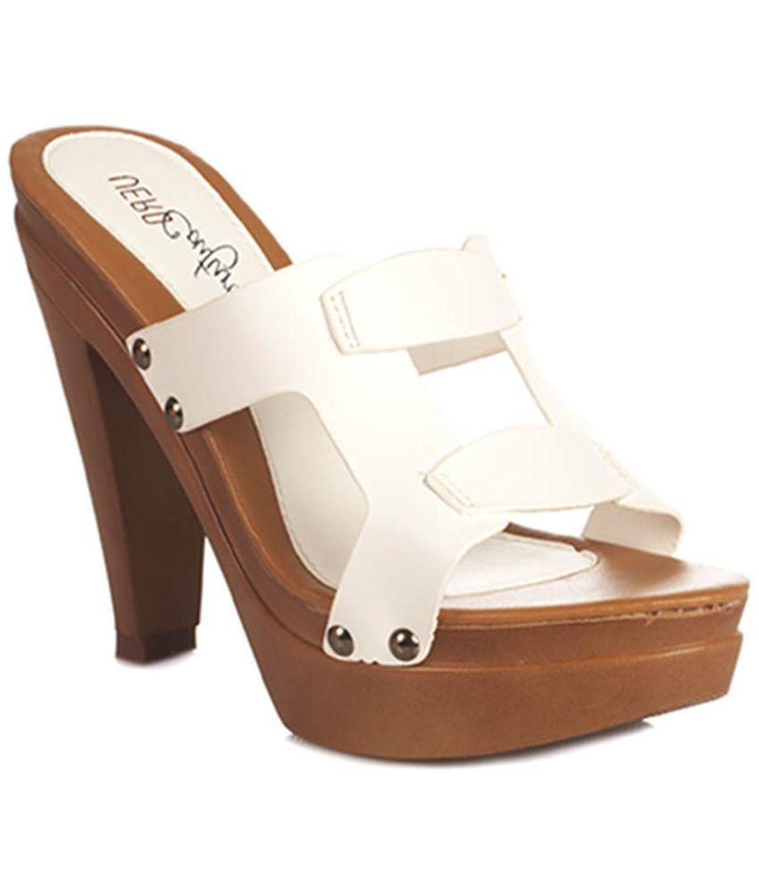 Vero Couture White Heeled Slip Ons