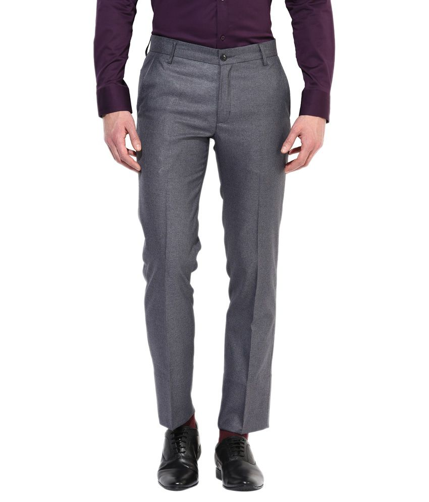 Bukkl Dark Grey Slim Fit Formal Trousers