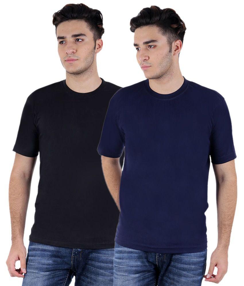 Christy World Black & Navy Round Neck T-shirt Combo Of 2