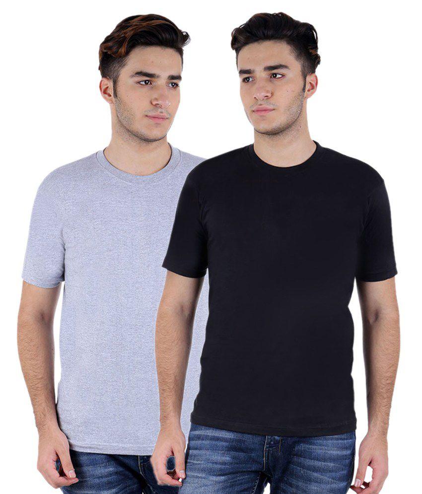 Christy World Grey & Black Round Neck T-shirt Combo Of 2