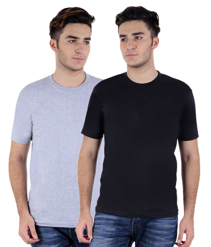 Christy World Grey & Black Round Neck T-shirt Combo Of 2