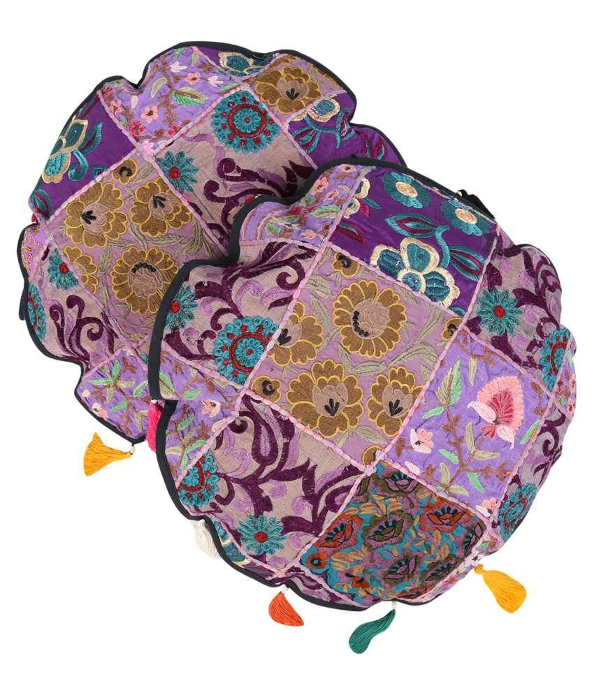 Rajrang Purple Cotton Cushion Cover Set Of 2 Pcs