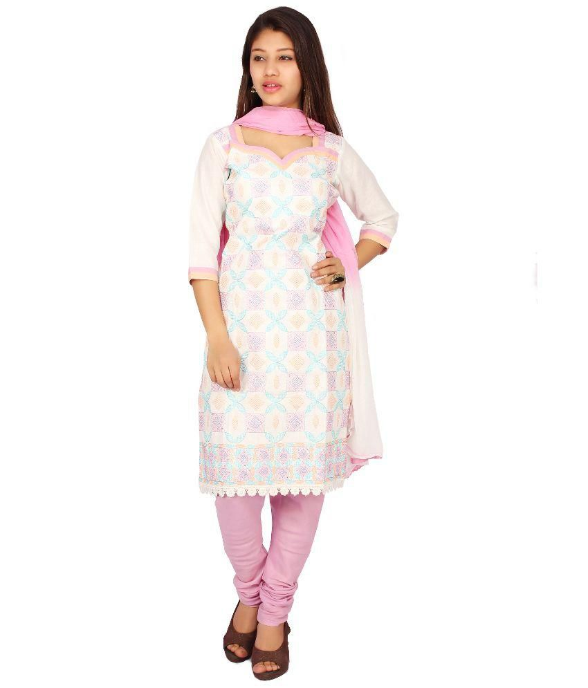 Roohi White Cotton Unstitched Dress Material