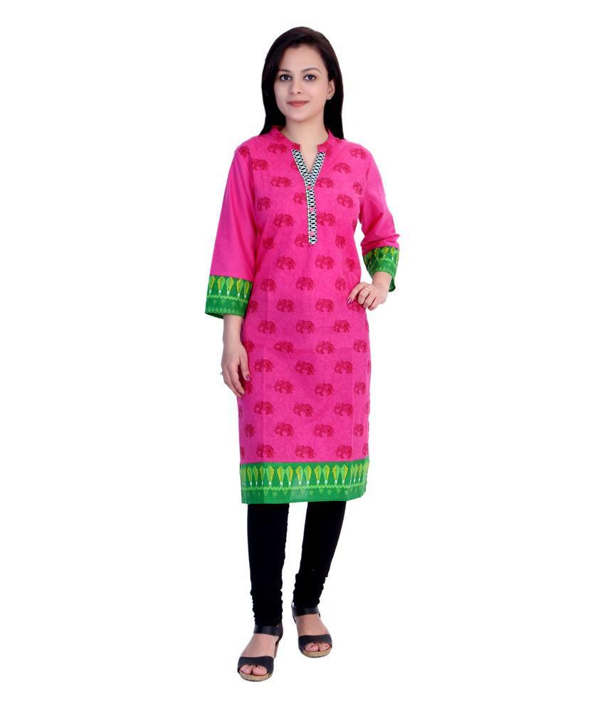 Gaura Pink Straight Cotton Kurti