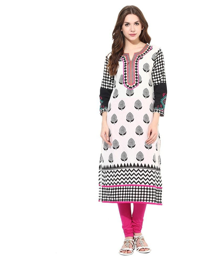 Prakhya Pink Straight Cotton Kurti