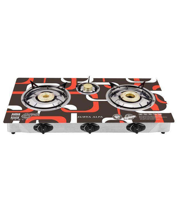 Surya Alfa SA103 3 Burner Auto Ignition Gas Cooktop