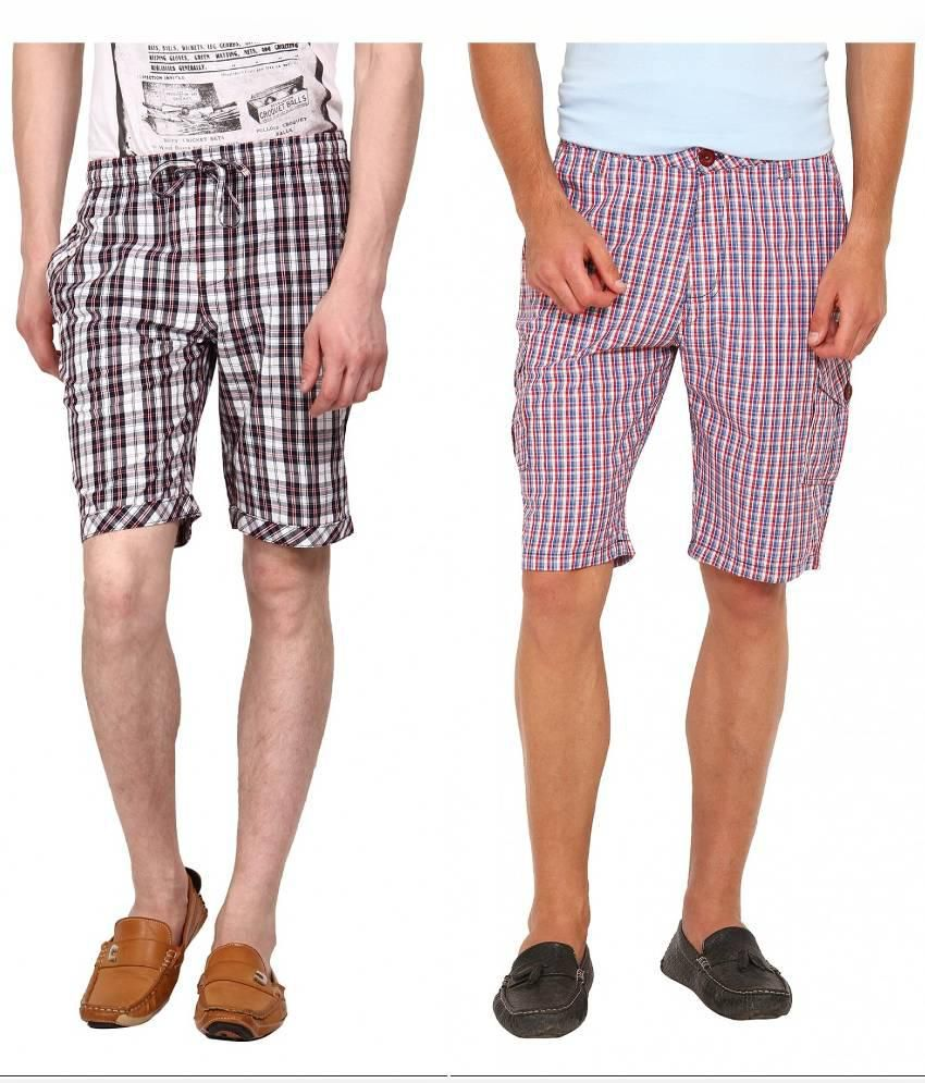 Wajbee Multicolour  Shorts - Pack of 2