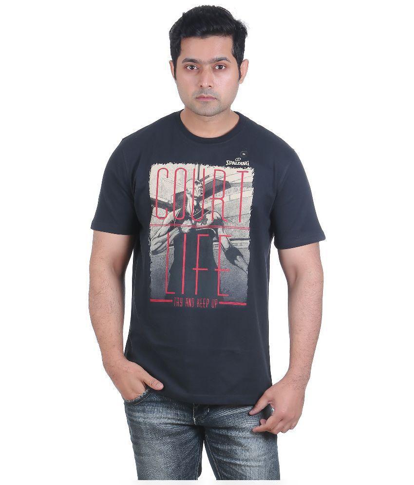 Spalding Black Round Neck T- Shirt