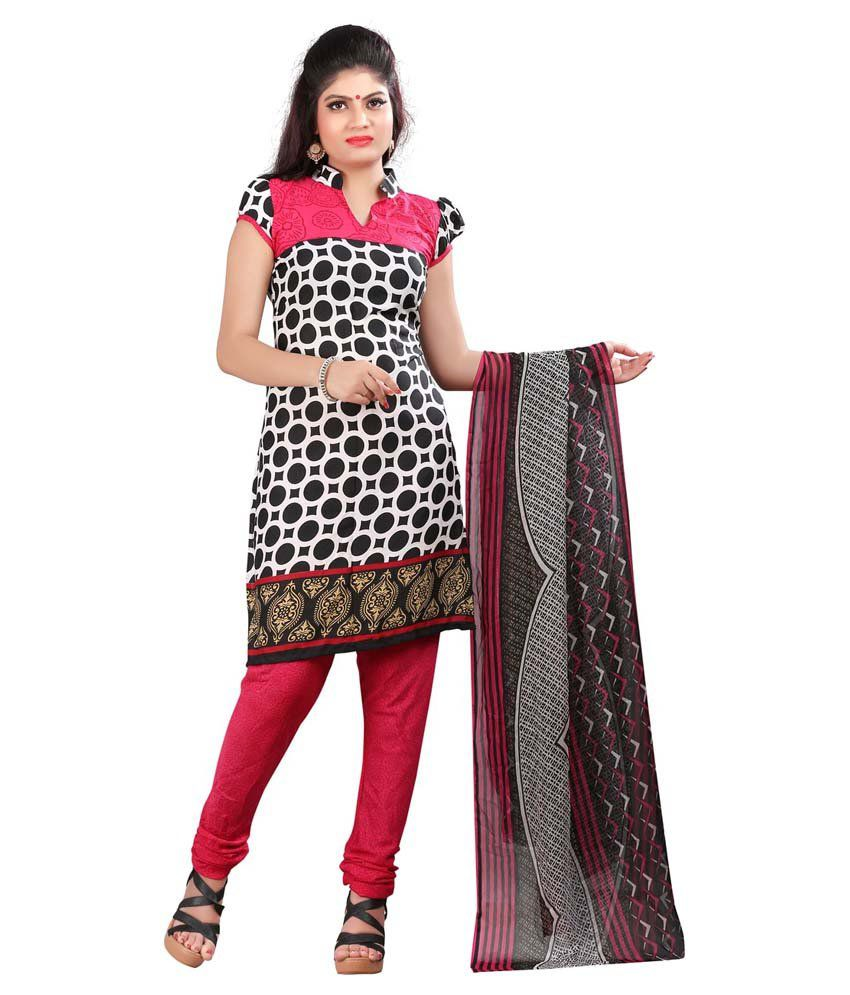 Lakshminarayan Creation Black Crepe Jacquard Unstitched Dress Material