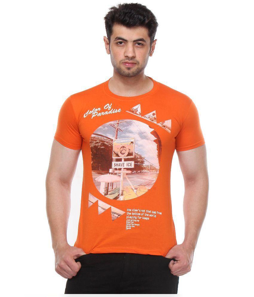 Rose Taylor Orange Round Neck T-Shirt