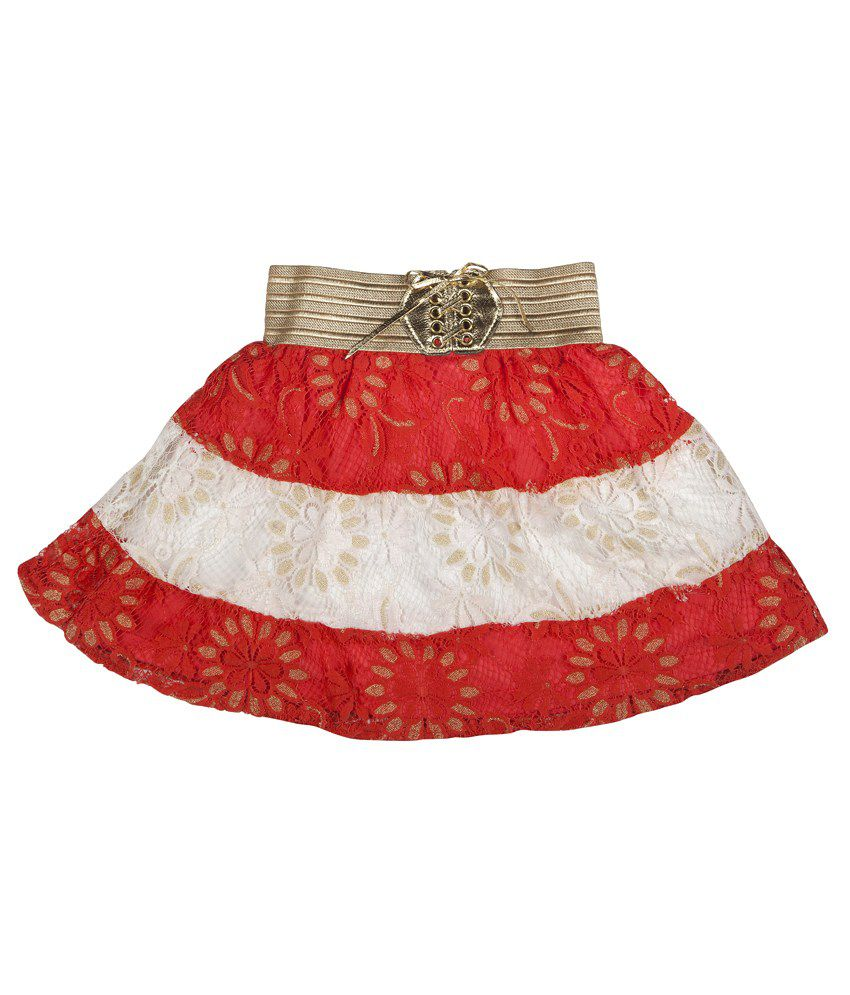 Hunny Bunny Red And White Net Skirt