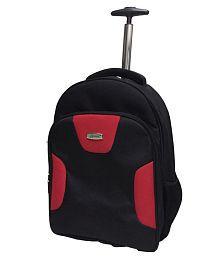 Apnav 2 Wheels Trolley Backpack | School Backpack|College Backpack|Travel Backpacks Back & Red