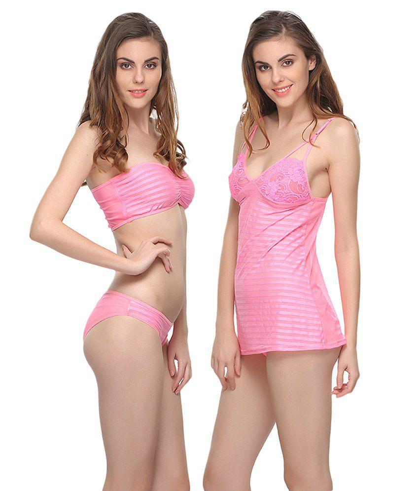 Clovia Pink Lycra Nightsuit Sets Pack of 3