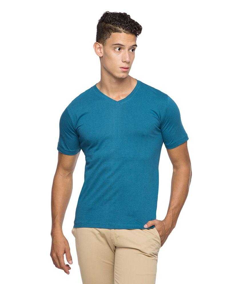Afylish Blue Cotton Solid T-shirt