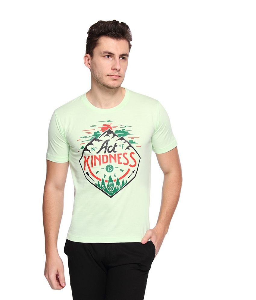 Afylish Green Cotton Printed T-shirt