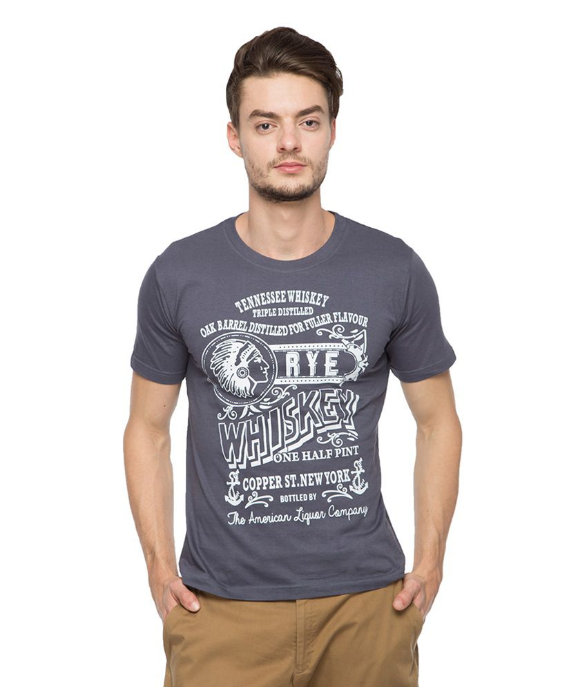 Afylish Grey Cotton Printed T-shirt