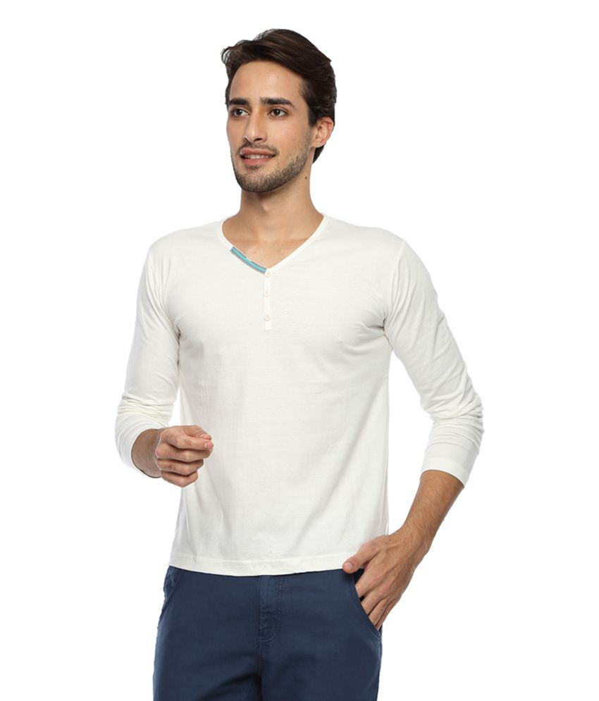 Afylish Off-white Cotton Solid Henley T-shirt